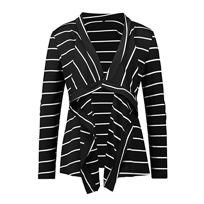 80% off Women Casual Long Sleeve Striped Asymmetrical Hem Cardigan Cardigans