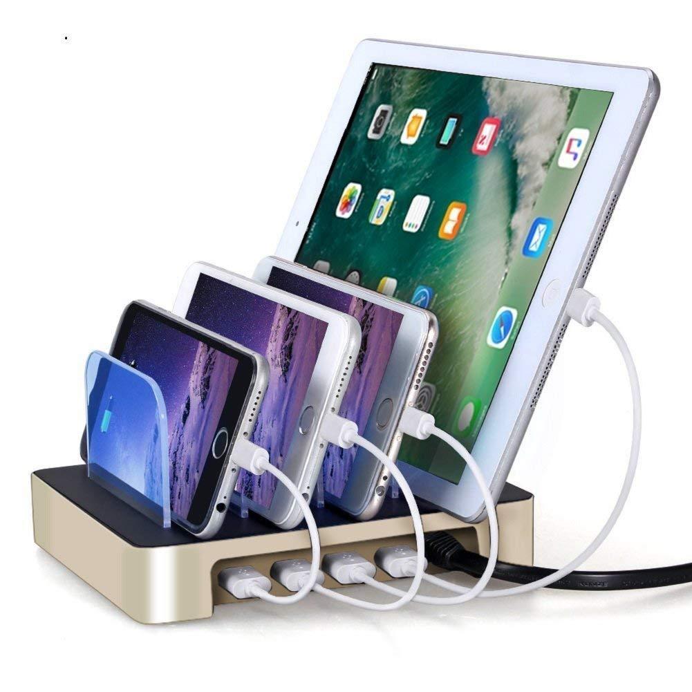 4 Ports USB Charging Station, Universal Detachable Multi-port Desktop Charge Dock Stand
