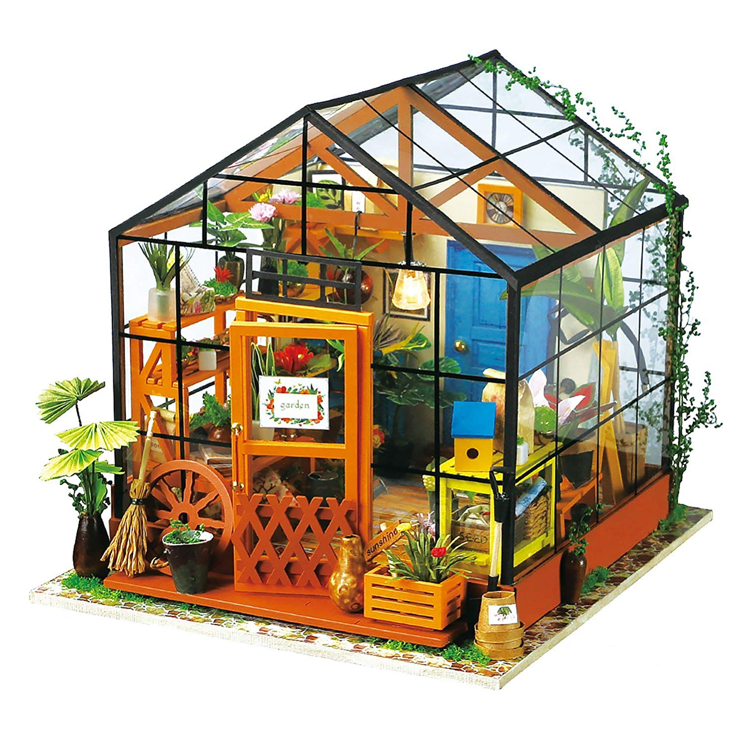 Robotime Miniature 3d Greenhouse Craft Kits Dolls House with Furniture and Accessories Educational Toys