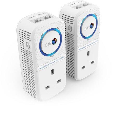 BT Broadband Extender Flex 1000 Kit with wired AV1000 Powerline and pass-through socket