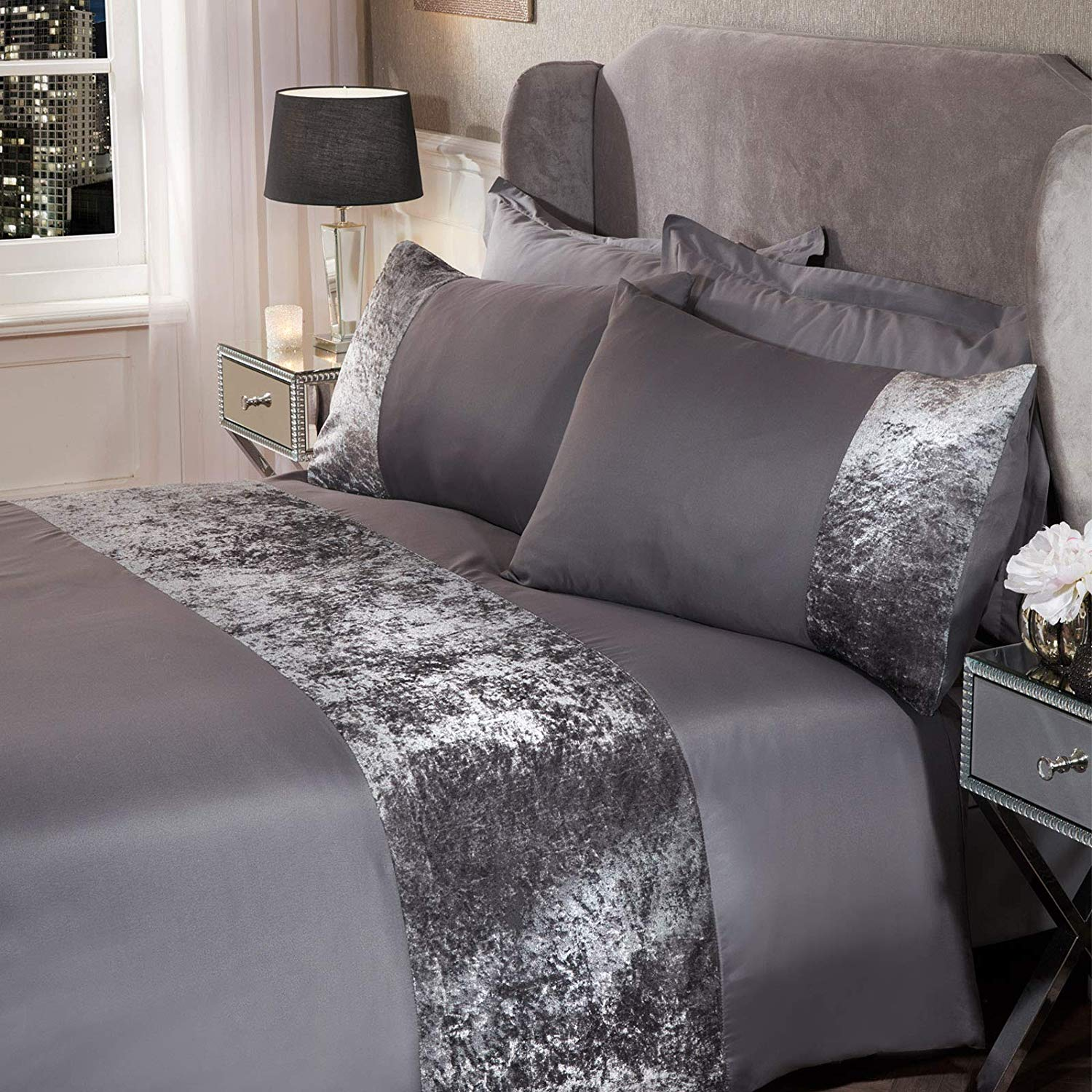 Sienna Crushed Velvet Panel Band Duvet Cover with Pillow Case Bedding Set – Silver Grey delivery