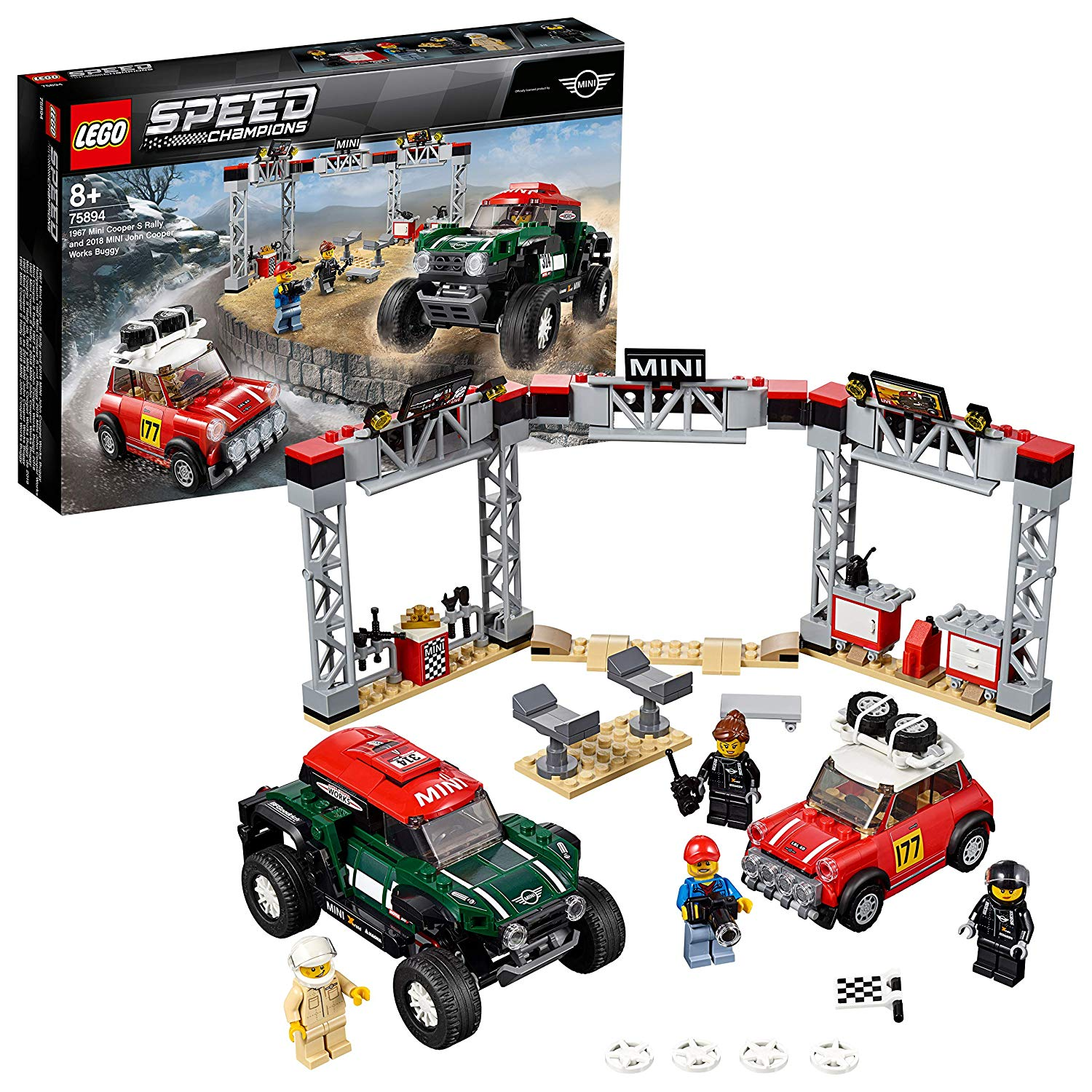 LEGO Speed Champions 1967 S Rally and 2018 Mini John Cooper Works Buggy 4 Minifigures Car Building Set