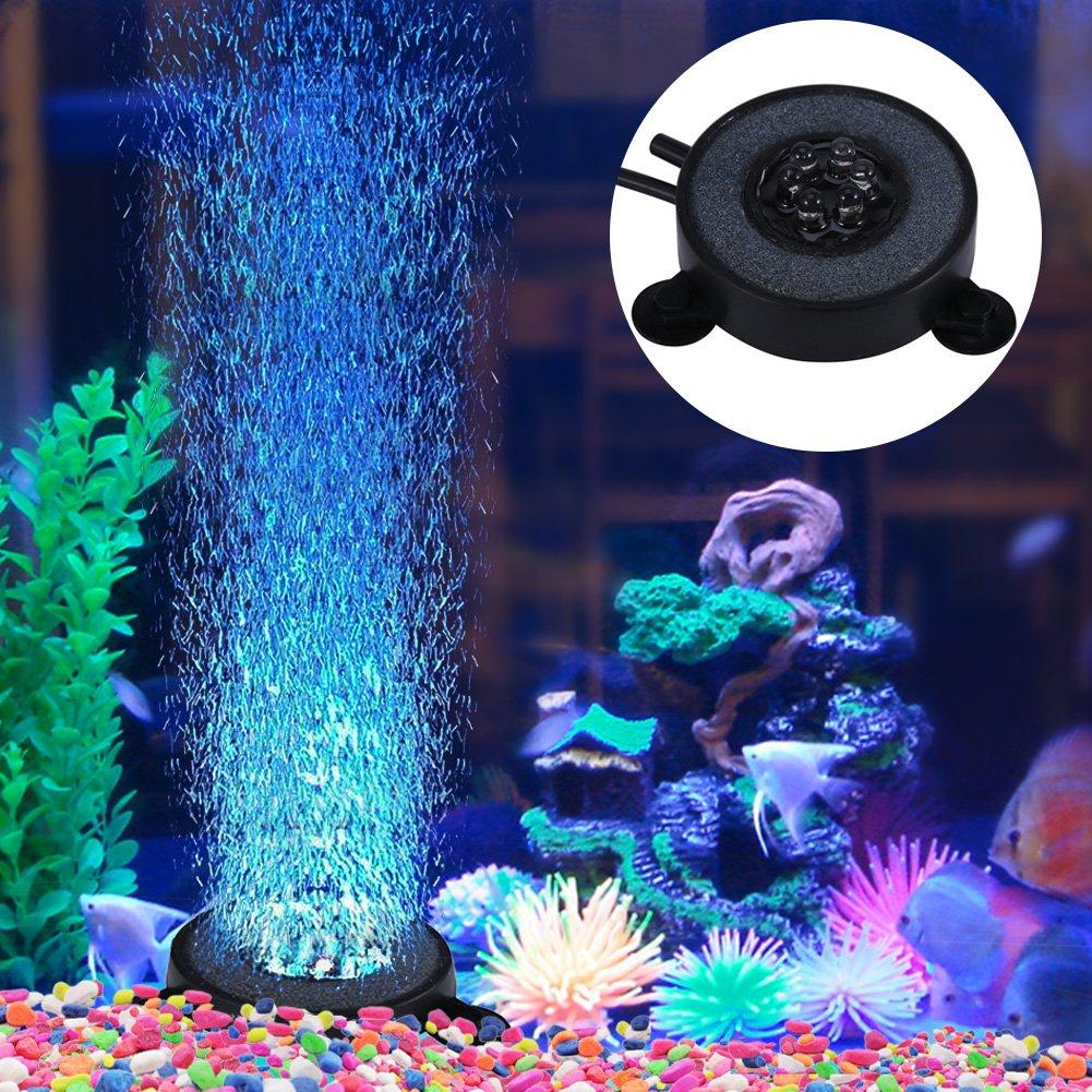 Yosoo Aquarium Air Bubble Stone with Colour Changing 6 LED Lights