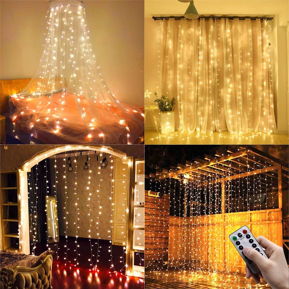 Ollny Window Curtain Lights 3m x 3m USB Powered 304 LED Warm White Curtain Fairy Lights