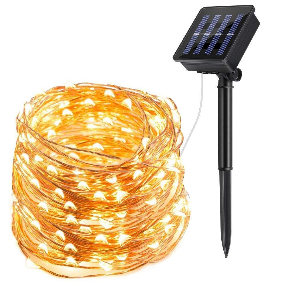 200 LED Solar Powered Garden String Lights 72ft Copper Wire Fairy Lights
