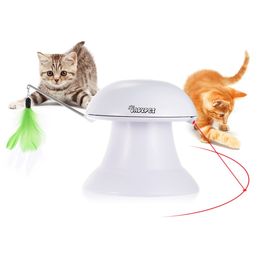 2 in 1 Auto Rotating Light Chaser Toy And Interactive Feather Toy, Pet Entertainment Intelligence Fun