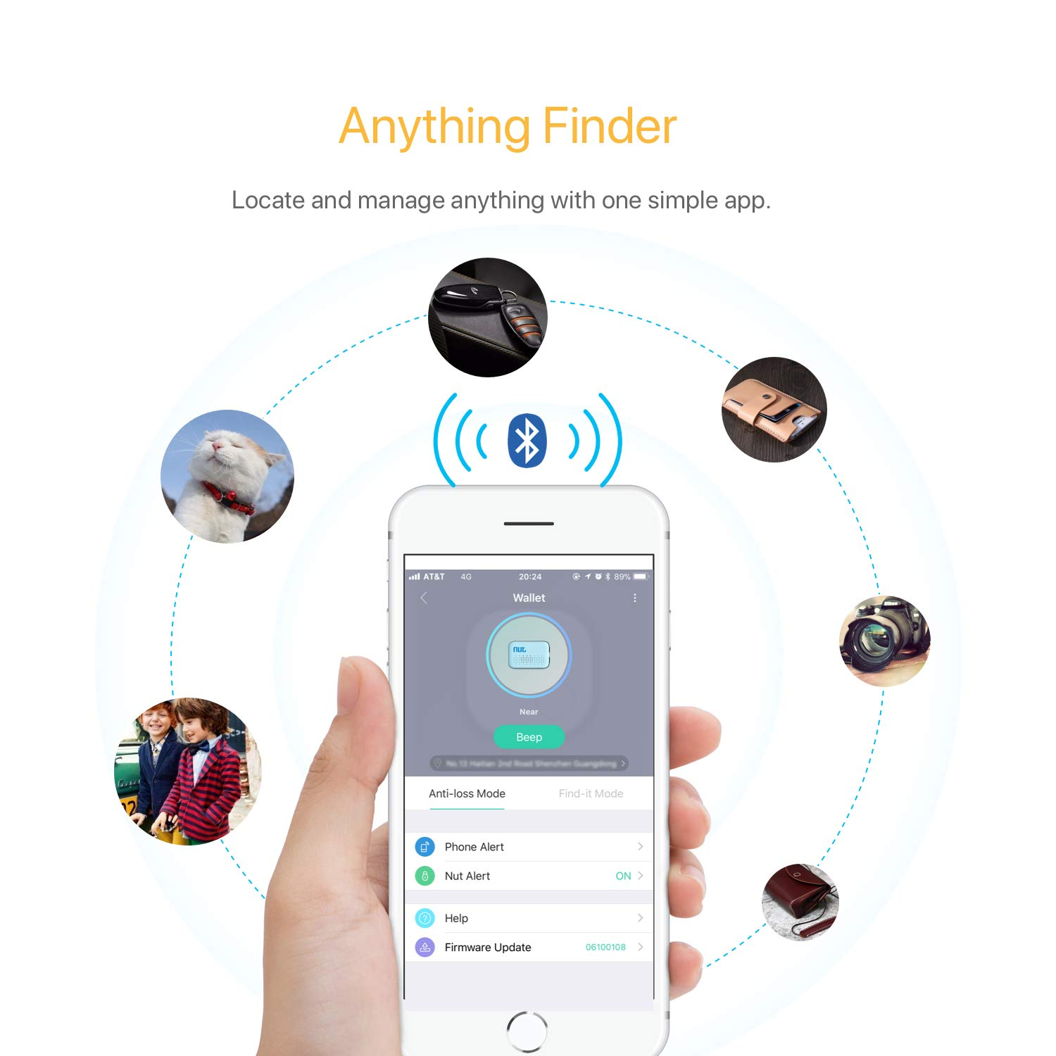 Famisafe Mini Key Finder, Phone Finder Wallet Finders Anti-Lost Bluetooth Tracking Locator