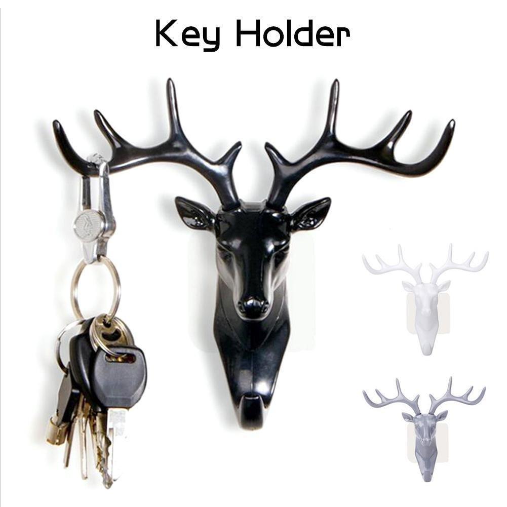 1PC 3d Deer Head Self Adhesive Wall for Hanger Keys