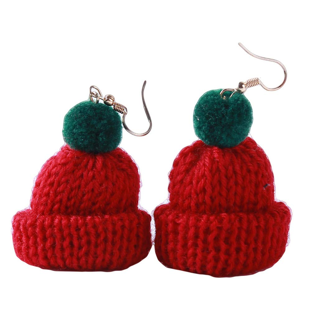 Flybloom Funny Christmas Hat Shape Pendant Earrings delivery