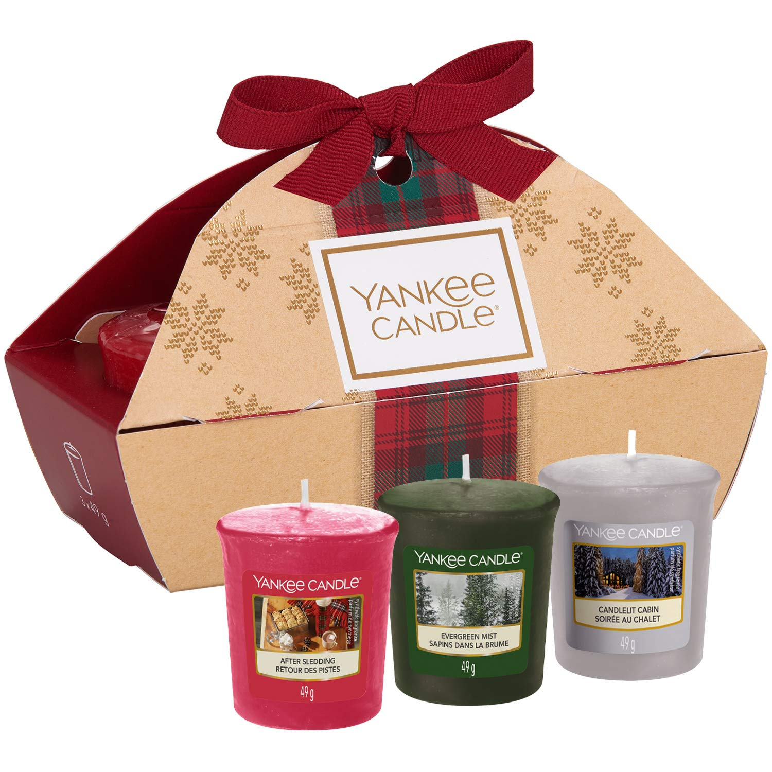 Yankee Candle Gift Set with 3 Scented Votive Candles, Alpine Christmas Collection, Festive Gift Box
