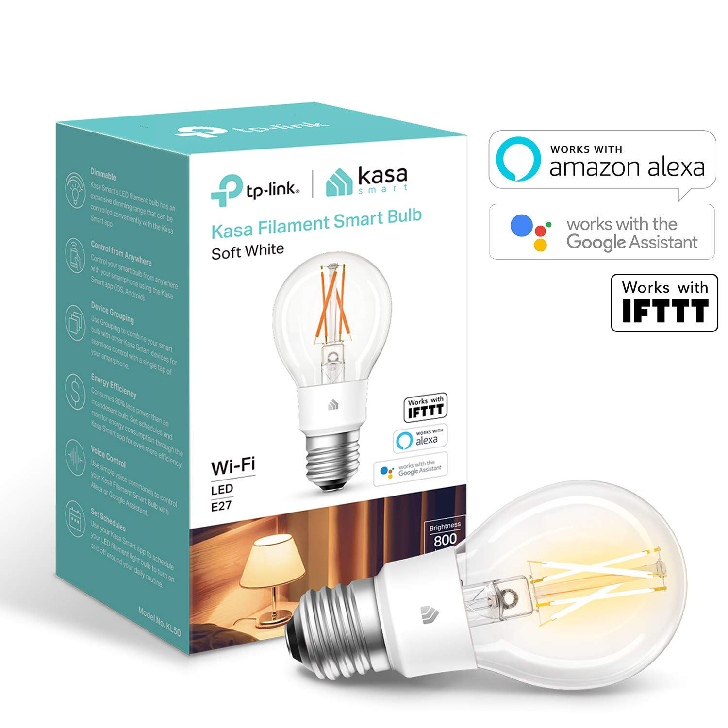 TP-Link Smart Bulb, WiFi Filament Light Bulb, E27, 7W, Works with Amazon Alexa