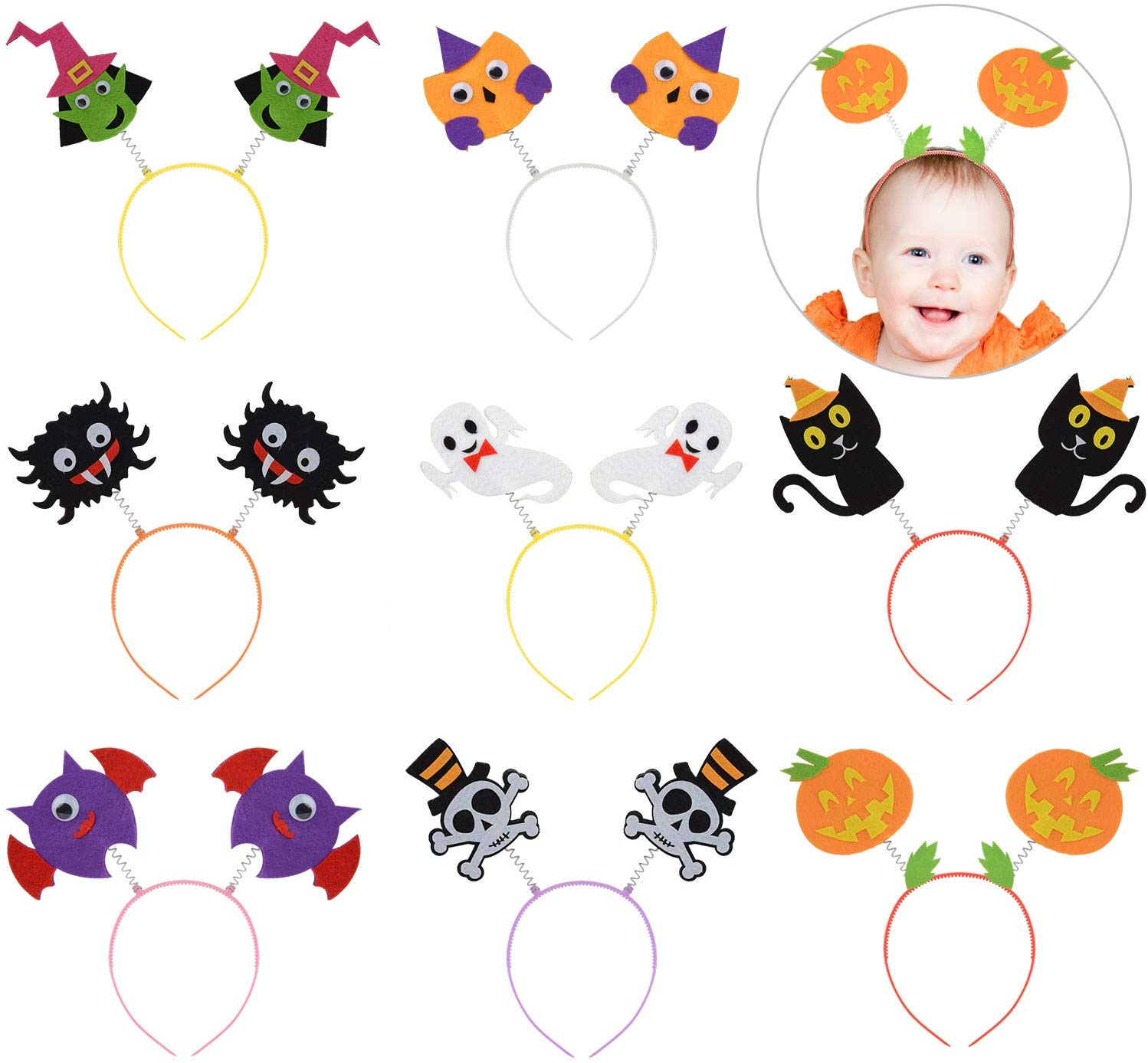 8PCS Halloween Party Headband DIY Creative Novelty Hair Hoop Costume Headband