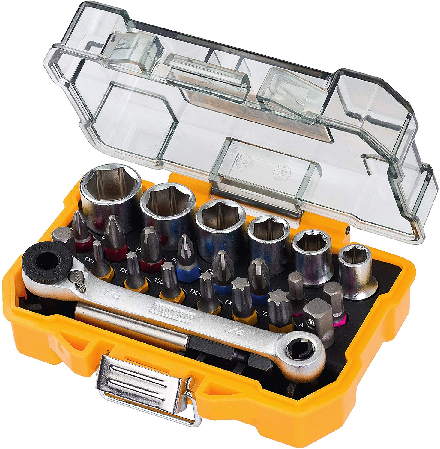 Dewalt 24 Piece High Performance Socket and Screwdriving Set; long-living sockets; (24 pieces); with case