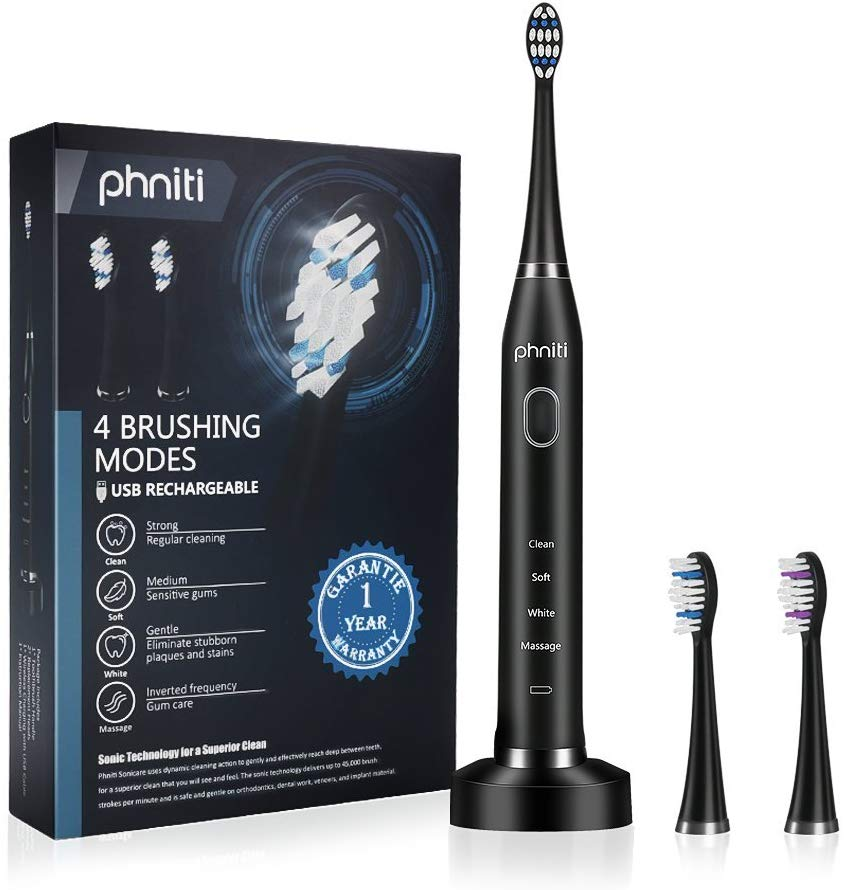 USB Electric Toothbrush, Smart Timer 4 Brushing Modes Rechargeable Sonic Toothbrush