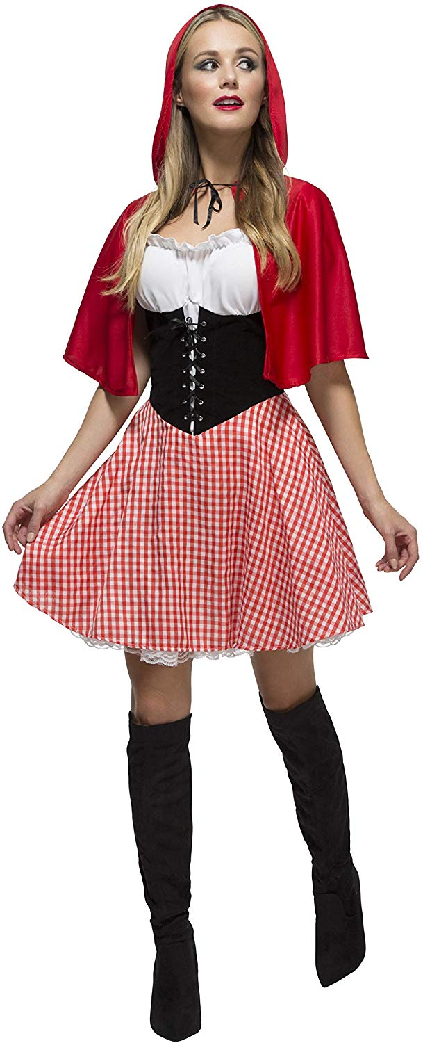 Fever Adult Women's Red Riding Hood Costume, Dress and Hooded Cape