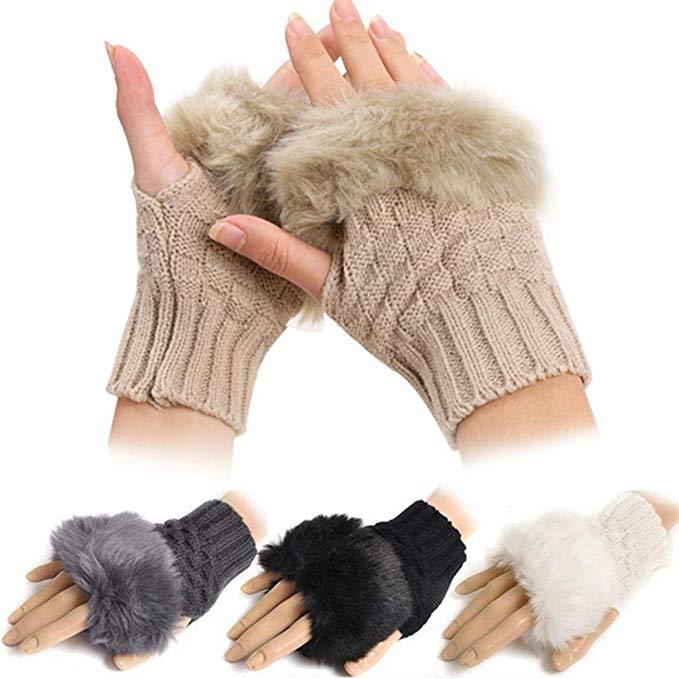 Minlop Winter Warm Thicken Fingerless Gloves Plush Warm