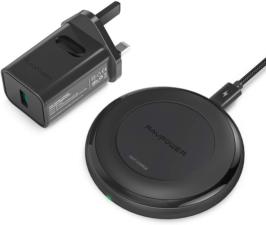 RAVPower 7.5W Wireless Charging Pads for All Qi-Enabled Devices (QC 3.0 Adapter Included)