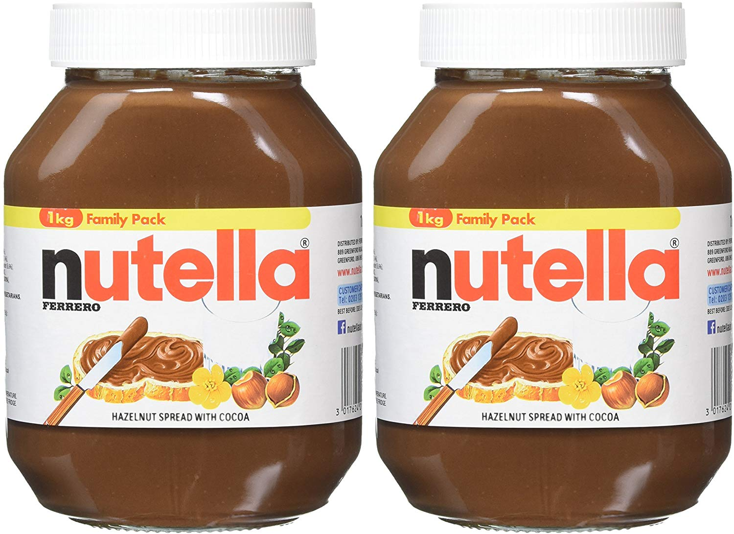 Nutella Hazelnut Chocolate Spread, 1 kg, Pack of 2