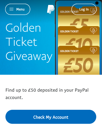 PayPal free £5-£50 cash Giveaway