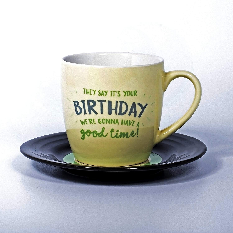 Thumbs Up L&M Mug and Saucer Set-Birthday, 15.7 x 10 x 15.7 cm