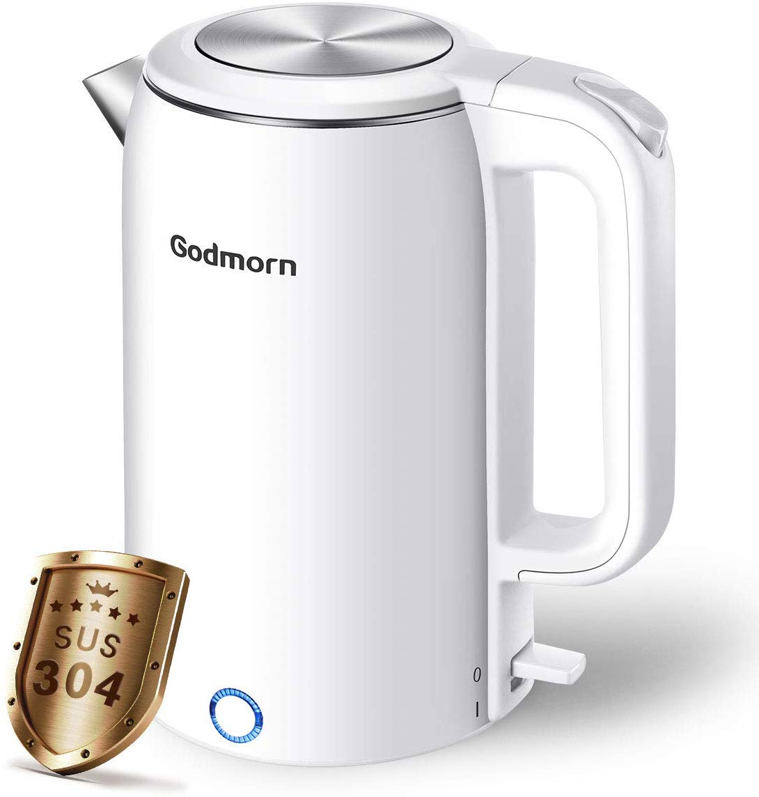 Godmorn Electric Kettle, 1.8L Double Wall Cool Touch Tea Kettle Cordless, 1500W