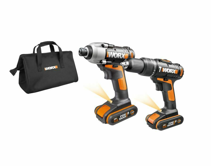 WORX WX938 18V (20V MAX) Cordless Impact Driver and Hammer Drill – Twin Pack