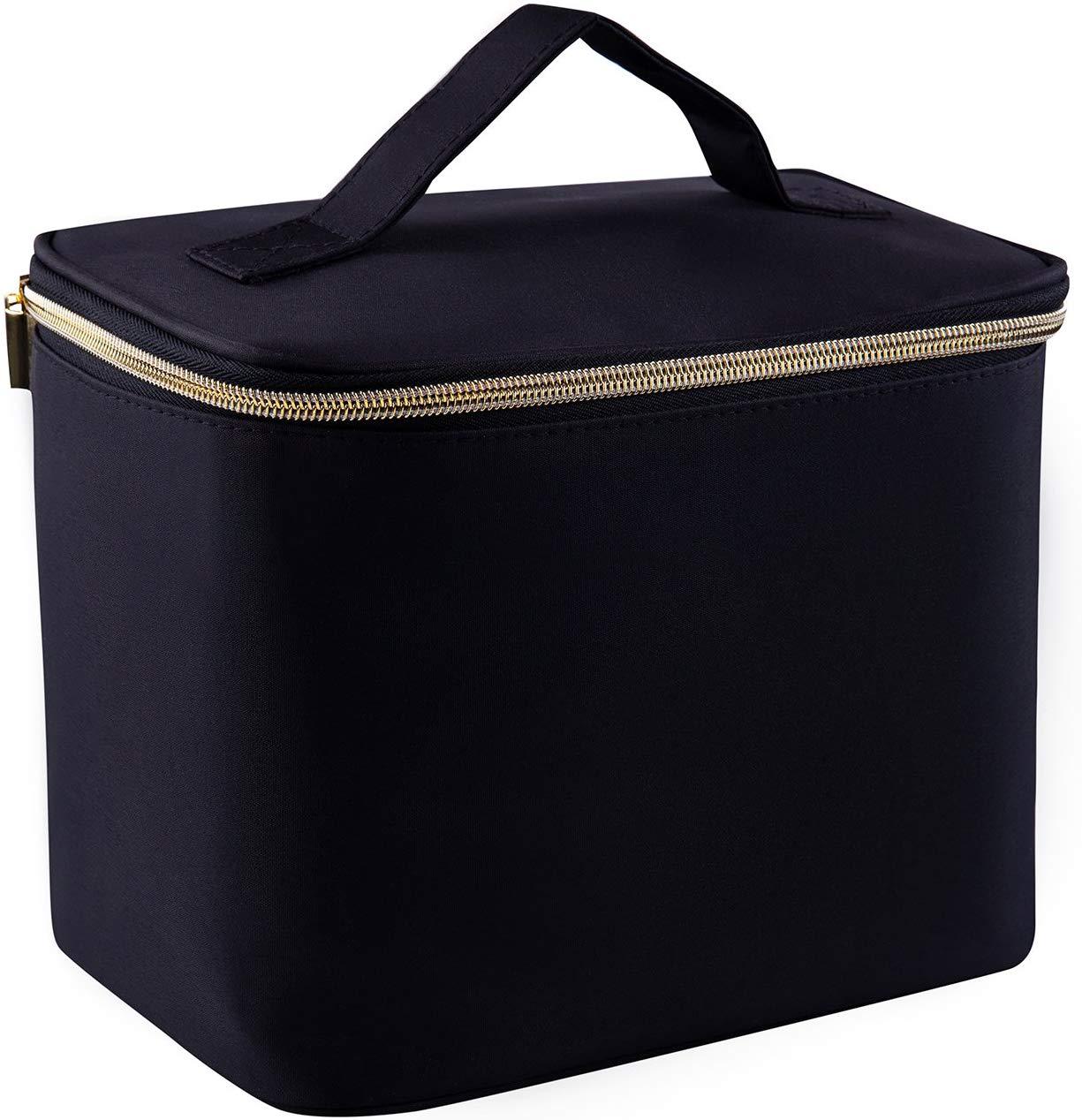 EveBird Travel Make Up Bag Organiser – Black Cosmetic Vanity Case – Toiletry Bags