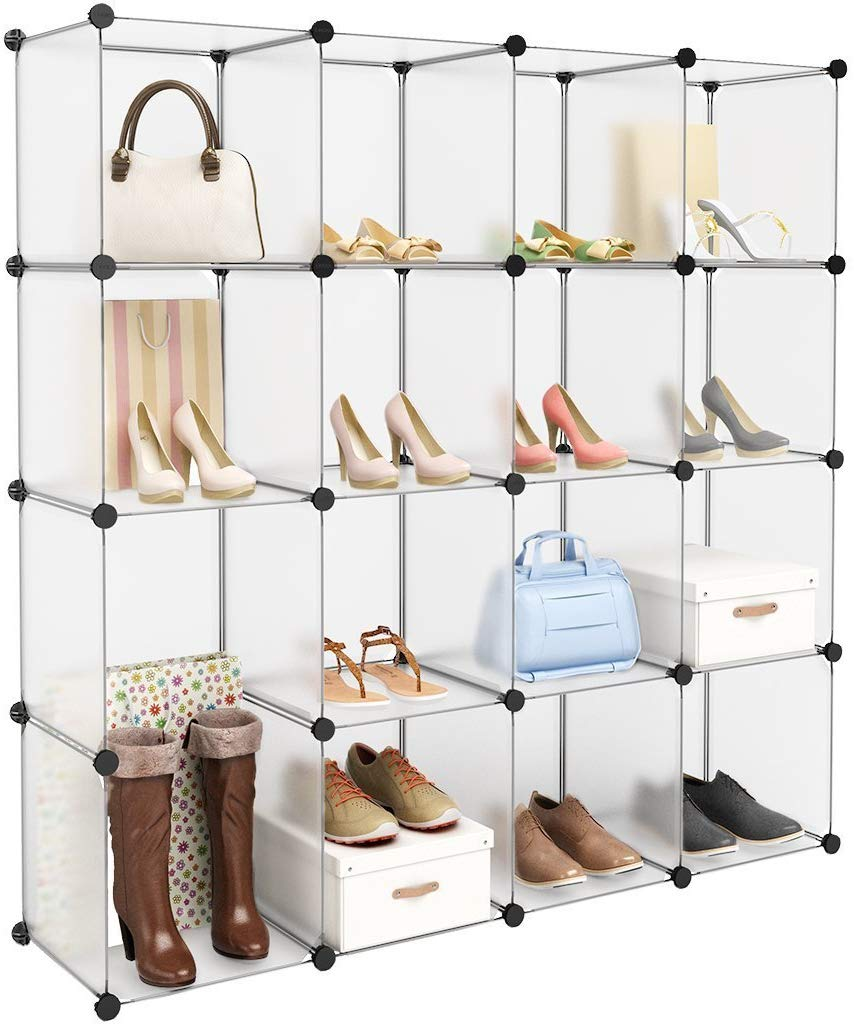 LANGRIA Interlocking Plastic Wardrobe Cabinet 16-Cube Open Storage and Organizer