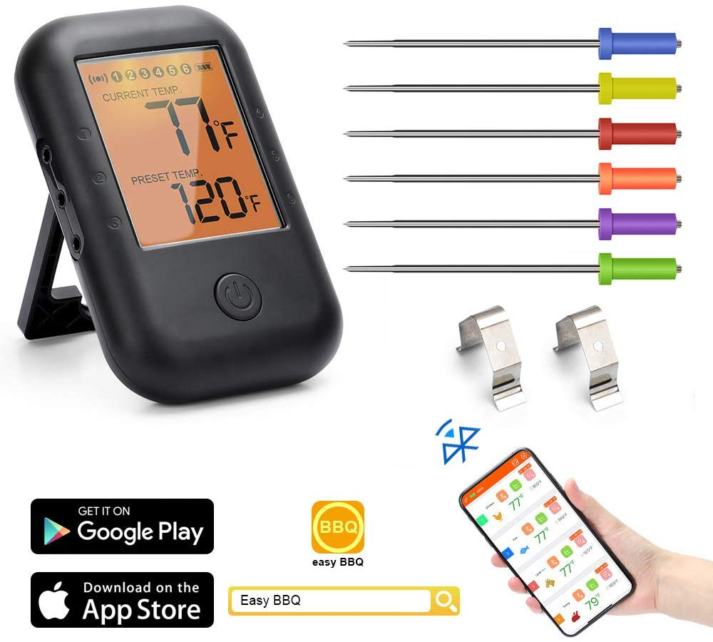 POWERGIANT Digital Meat Thermometer with 6 Probes