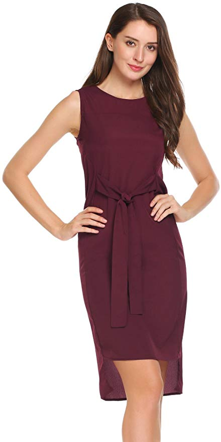 80% off Women Casual Sleeveless Tie-Front Stretch-Crepe Solid O Neck Party Shift Dress