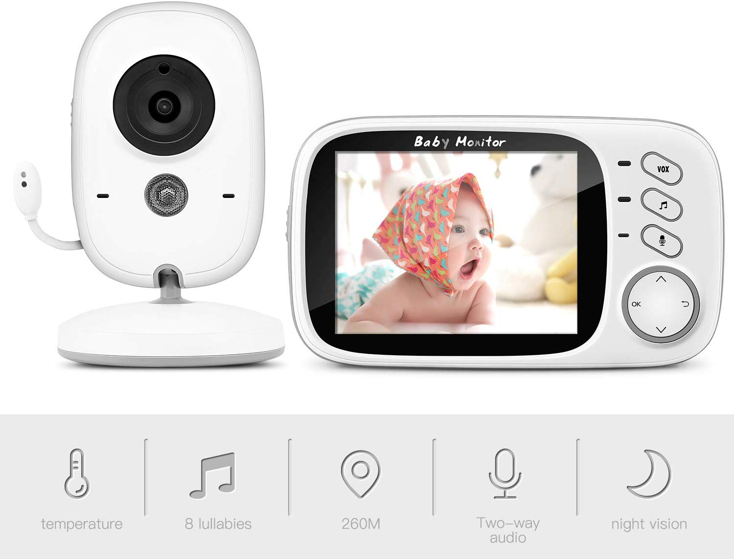 "Baby Monitor, BOIFUN Baby Video Camera with 3.2"" LCD Digital Screen 750mAh Rechargeable Battery"