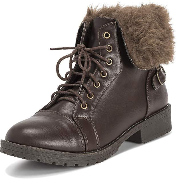 Viva Womens Faux Fur Winter Ankle Boots