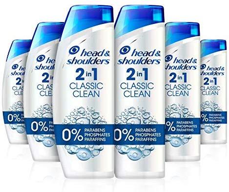Head & Shoulders Classic Clean Anti-Dandruff 2-in-1 shampoo, Six-Pack