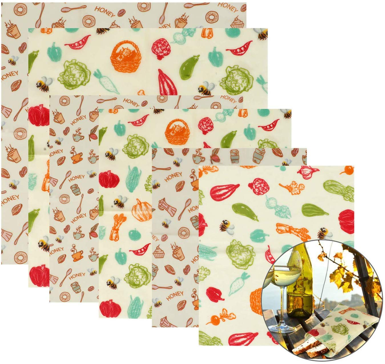 Set of 6 Pcs Reusable Food Storage Wraps Beeswax Wrap