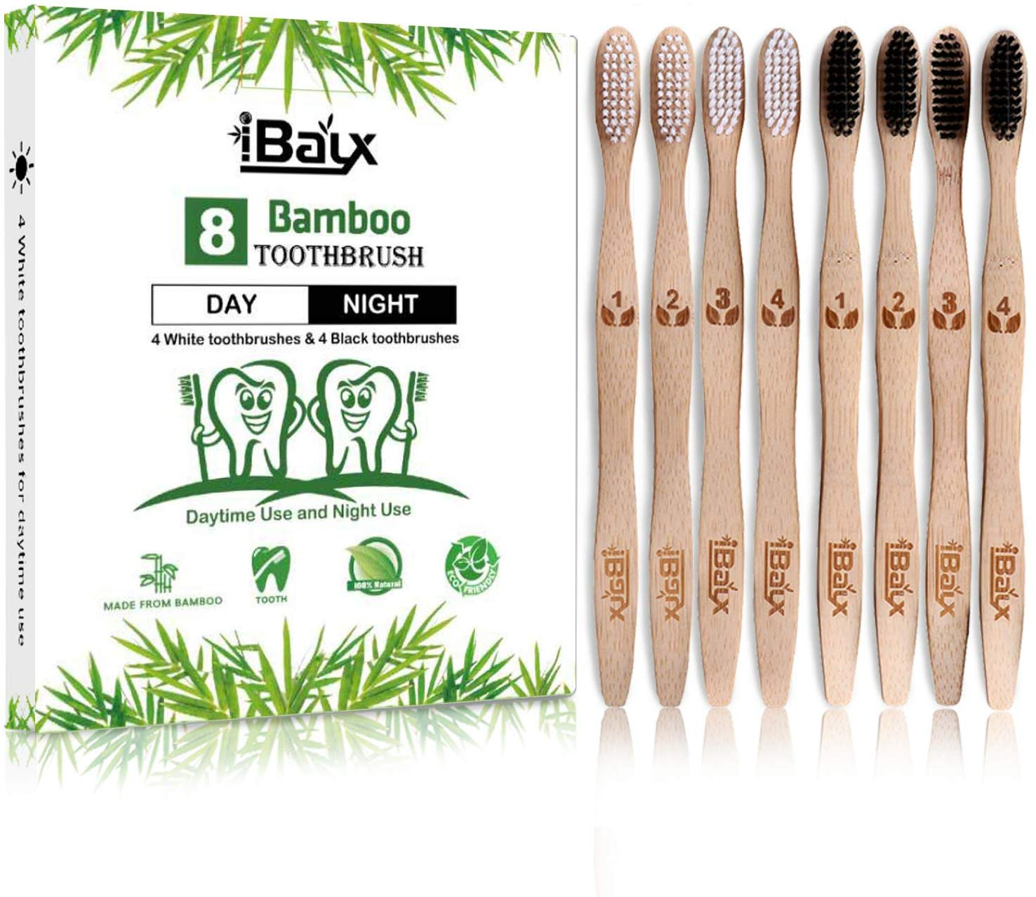 iBayx Organic Bamboo Toothbrushes – Medium Soft Bristles Toothbrushes, Family 8 Pack