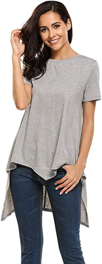 80% off  Women Casual High Low Hem Tunic Short Sleeve Round Neck Loose Fit Shirt
