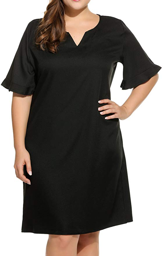 80% off  Women Plus Size V-Neck Loose Short Sleeve Summer Basic Midi Casual Dress