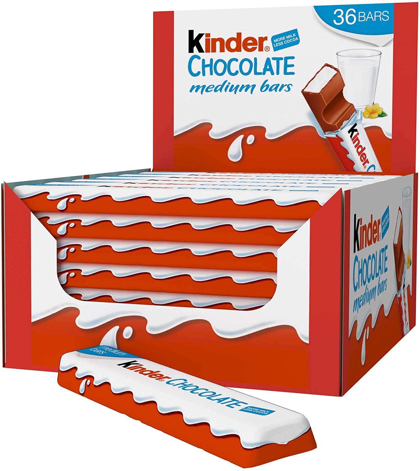 Kinder Chocolate medium bars (box of 36 single bars x 21g)