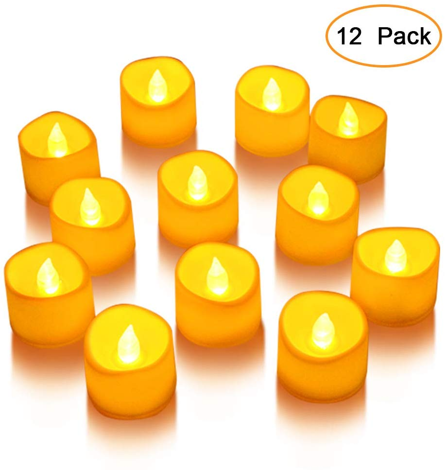 Litake LED Candles, Tea Lights 12 Realistic Flickering Flameless Candles Warm White