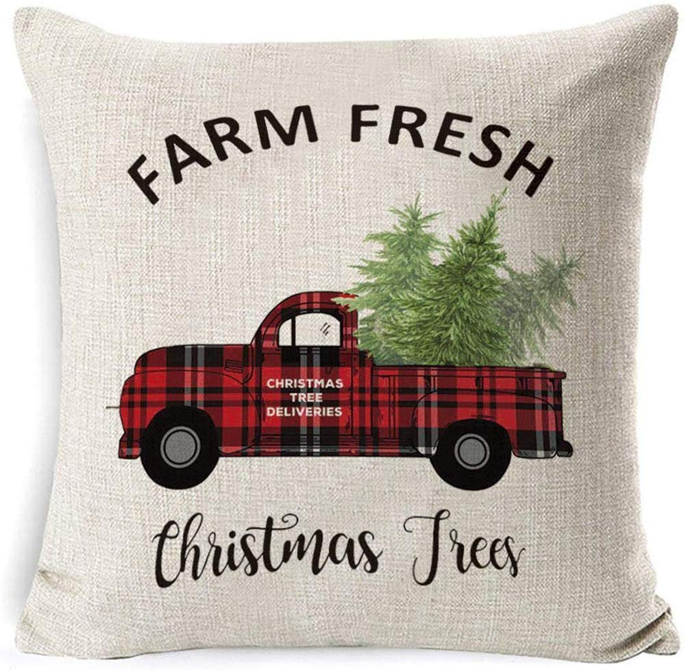 80% off Christmas Series Printed Pillowcase Soft Decoration Linen Cushion Cover Pillowcases