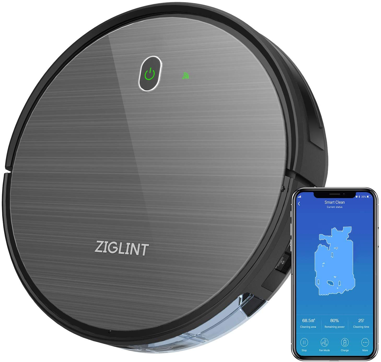 ZIGLINT D5 Robot Vacuum Cleaner -1800Pa Strong Suction