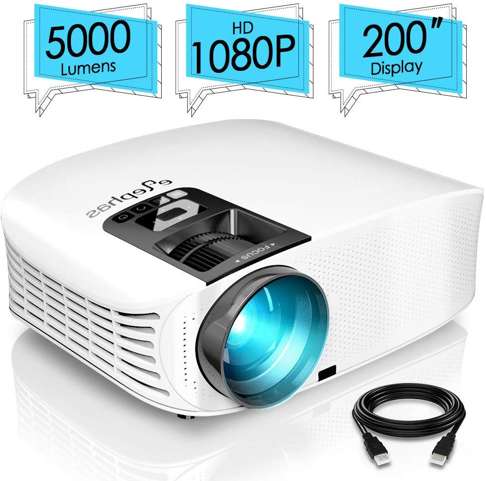 "ELEPHAS Projector, 5000 Lumens HD Video Projector 200"" Home Cinema LCD Movie Projector"