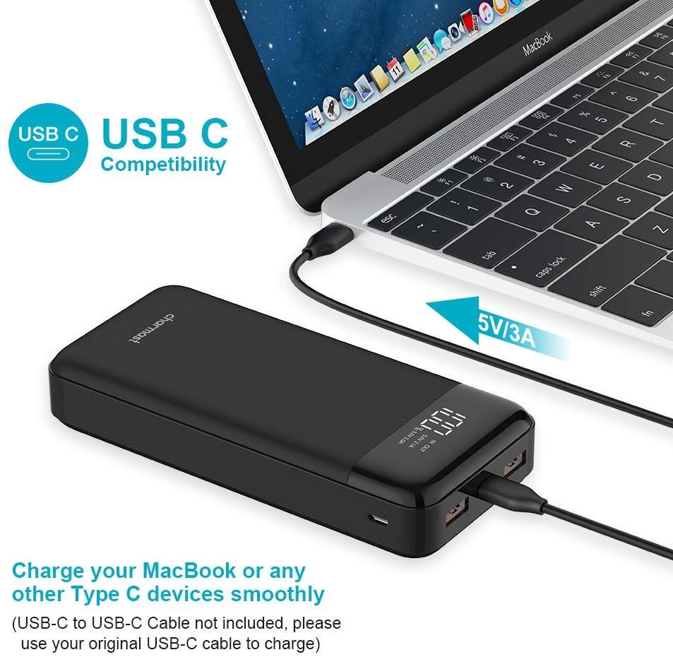 Charmast Power Bank USB C 20800mAh High Capacity Portable Charger