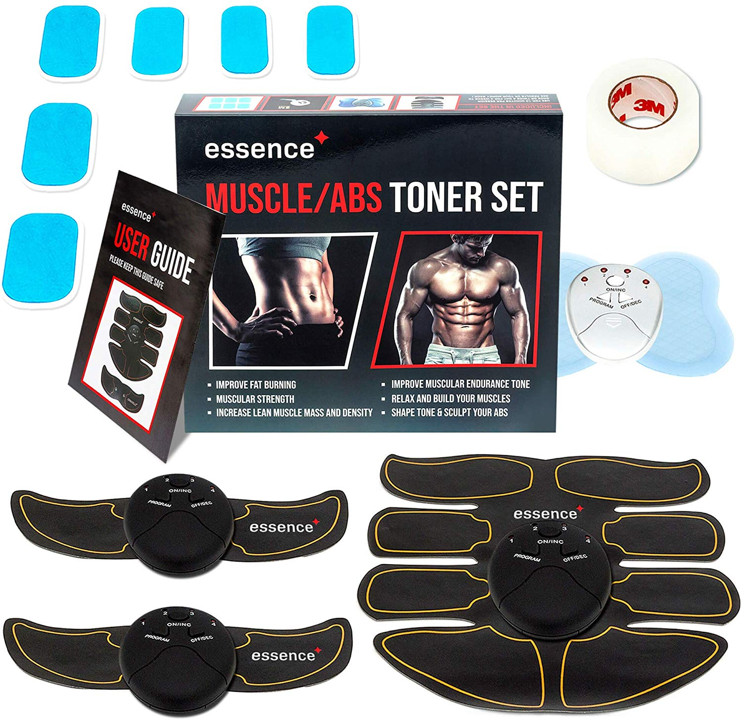 essence' Abs Trainer Ems Muscle Stimulator – Rapid Ab Toning & Fitness Training – Abdominal Muscles Toner