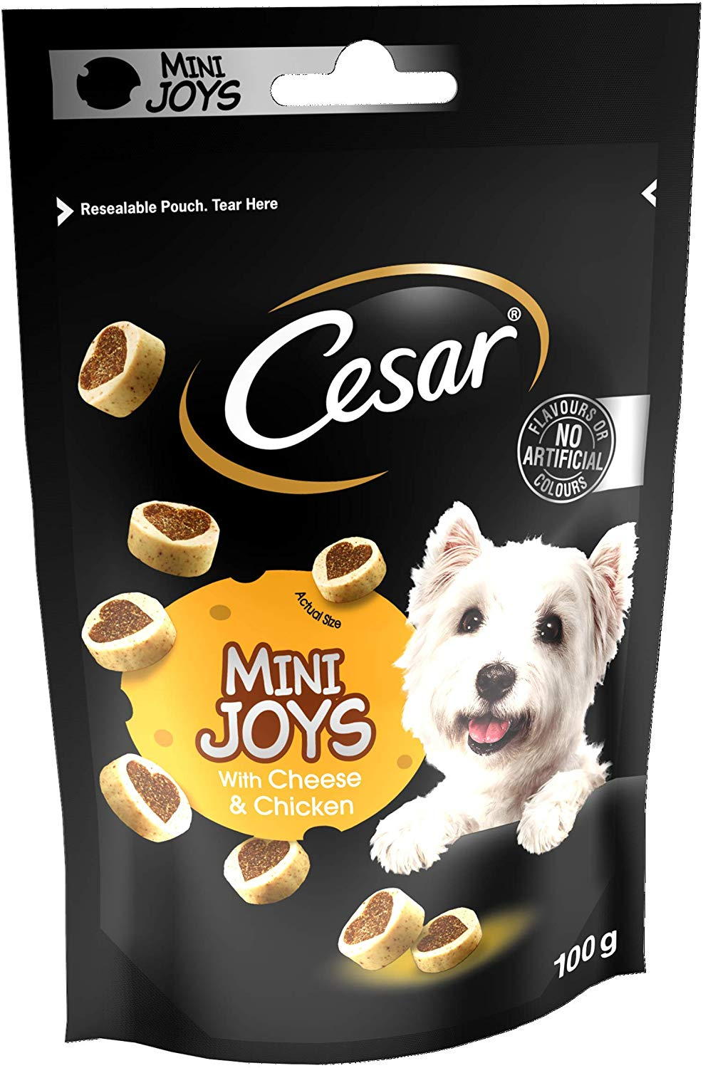 Cesar Mini Joys Dog Treats with Cheese and Chicken, 6 Pouches