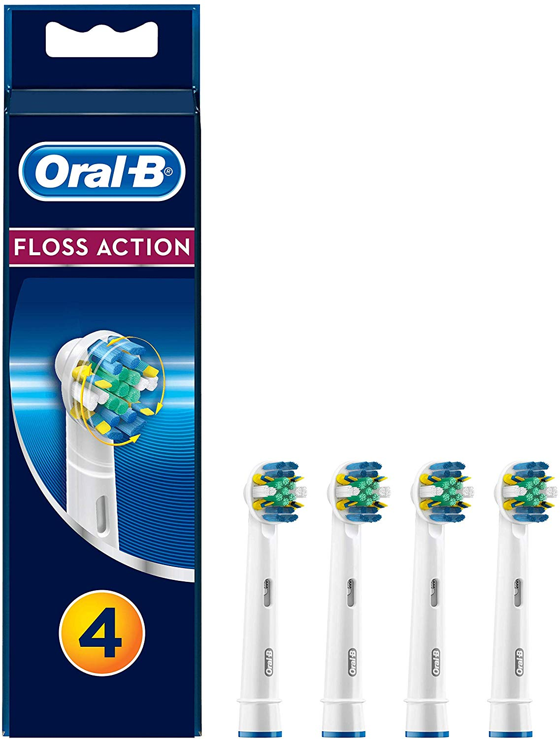 Oral-B Genuine FlossAction Replacement White Toothbrush Heads, Pack of 4