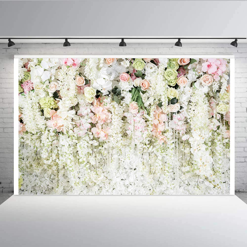 White Flower Backdrop,Aisnyho 3D Curtain Flower Wedding Birthday Party Background