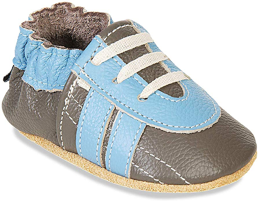Baby Shoes Genuine Leather with Non-Slip Suede Soles Infant Moccasins