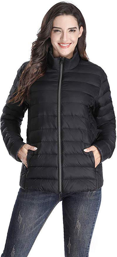 Risefar Women's Down Filled Jackets Without Hood Lightwight Waterproof Insulated Winter Clothes