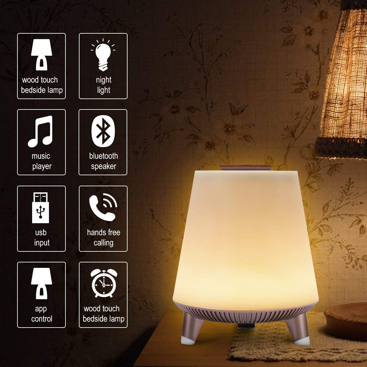 Smart Night Lamps Speakers,Table Lights Bedside,SPARKWAV Wireless Bluetooth Sound Desk,Clocks,Home Decor Audios Set